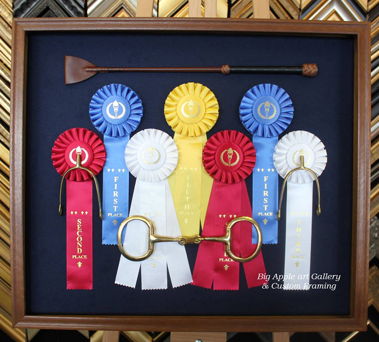 Medal Framing, 3D Object Framing, Sowing, Fabric Matboard, Brown Frame