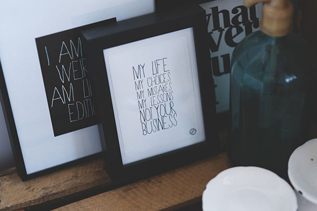Custom Picture Framing NYC/NJ - Framed Quotes - Black Frame, White Mat, Thick Frames, Deep Frames